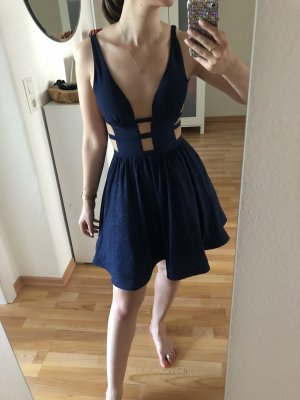 Robe de soirée bleu foncé polyester