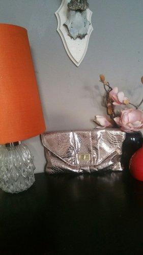 Abendtasche Partytasche Clutch Schultertasche Rosé Metallic Animal Schlange