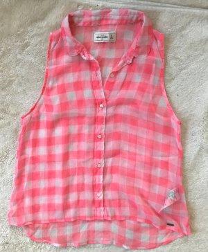 * ABERCROMBIE * ärmellose Bluse transparent kariert rosa weiß Gr XS ( Kid XL)