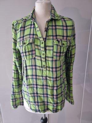 Abercrombie & Fitch Camisa de franela verde neón
