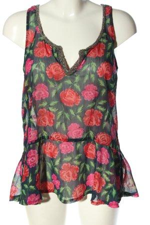 Abercrombie & Fitch ärmellose Bluse schwarz-grün Allover-Druck Casual-Look