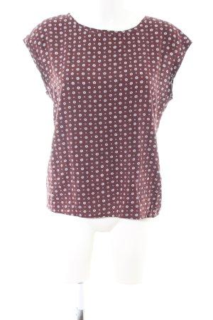 Abercrombie & Fitch ärmellose Bluse braun-weiß Allover-Druck Business-Look