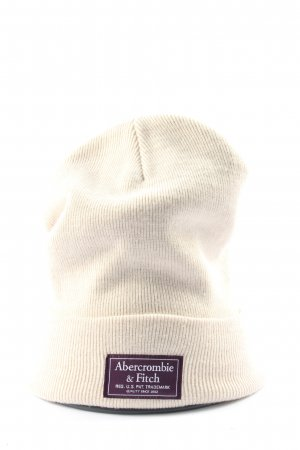 Abercrombie & Fitch Beanie cream-brown printed lettering casual look