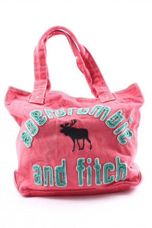 Abercrombie & Fitch Torebka typu worek różowy-turkusowy Wyhaftowany logo