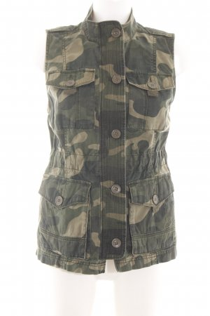 Abercrombie & Fitch Bikerweste khaki Camouflagemuster Casual-Look