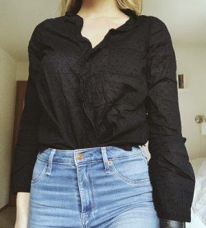 Abercrombie & Fitch Bluse Volants schwarz gepunktet