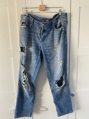 Abercrombie & Fitch Jeans boyfriend gris ardoise coton