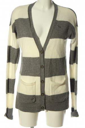 Abercrombie & Fitch Cardigan light grey-natural white striped pattern elegant