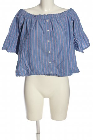 Abercrombie & Fitch Carmen-Bluse blau-rot Streifenmuster Casual-Look
