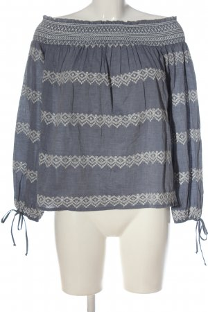 Abercrombie & Fitch Carmen-Bluse blau grafisches Muster Casual-Look