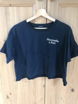 Abercrombie & Fitch Camisa recortada azul oscuro-blanco