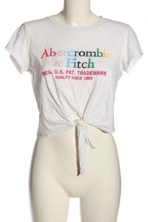 Abercrombie & Fitch T-shirt court blanc lettrage imprimé style décontracté