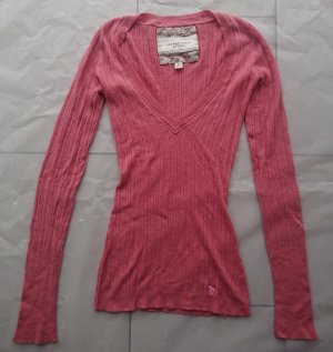 Abercrombie & Fitch Damen Pullover V-Ausschitt , Pink, Wolle
