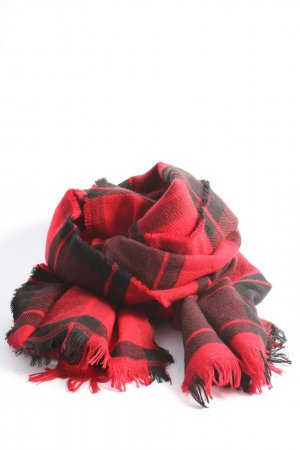 Abercrombie & Fitch Fringed Scarf red-black check pattern casual look