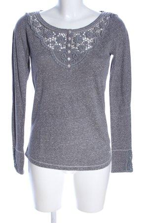 Abercrombie & Fitch Crochet Shirt light grey flower pattern casual look