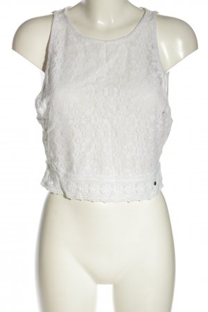 Abercrombie & Fitch Gehaakte top wit bloemenprint casual uitstraling
