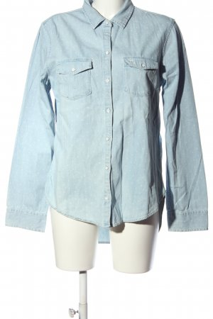 Abercrombie & Fitch Hemd-Bluse blau-weiß Allover-Druck Casual-Look