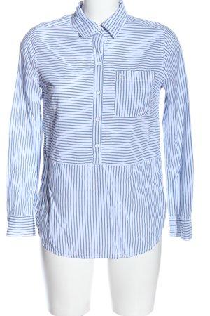 Abercrombie & Fitch Hemd-Bluse blau-weiß Allover-Druck Business-Look
