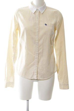 Abercrombie & Fitch Hemd-Bluse blassgelb-weiß Streifenmuster Business-Look