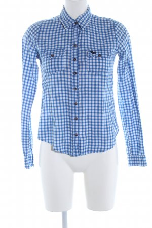 Abercrombie & Fitch Hemd-Bluse blau-weiß Karomuster Casual-Look
