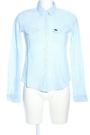 Abercrombie & Fitch Hemd-Bluse weiß-blau Streifenmuster Business-Look