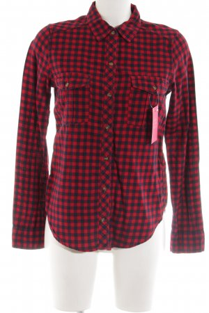 Abercrombie & Fitch Hemd-Bluse rot-schwarz Karomuster Casual-Look