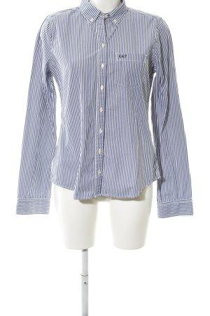 Abercrombie & Fitch Hemd-Bluse blau-weiß Streifenmuster Business-Look