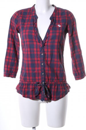 Abercrombie & Fitch Hemd-Bluse rot-blau Allover-Druck Casual-Look