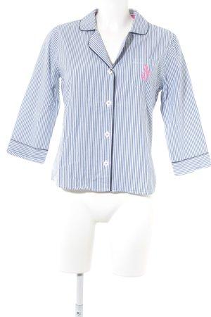 Abercrombie & Fitch Hemd-Bluse weiß-stahlblau Streifenmuster Casual-Look