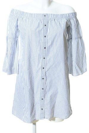 Abercrombie & Fitch Hemdblusenkleid weiß-blau Allover-Druck Casual-Look