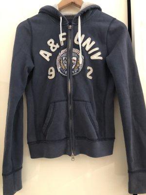Abercrombie & Fitch Pull à capuche bleu acier-blanc