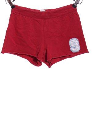 Abercrombie & Fitch Hot Pants rot-weiß Schriftzug gedruckt Casual-Look