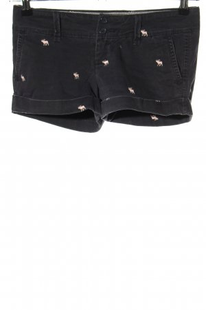 Abercrombie & Fitch Hot Pants schwarz-wollweiß Allover-Druck Casual-Look