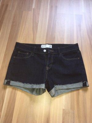 Abercrombie & Fitch Hot pants blauw-donkerblauw Katoen