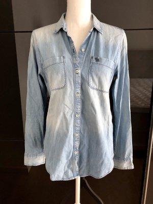Abercrombie & Fitch Blouse en jean bleu clair-bleu