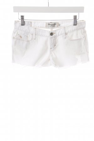 Abercrombie & Fitch Jeansshorts weiß Used-Optik