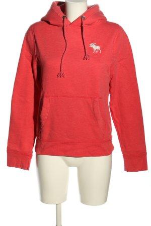 Abercrombie & Fitch Pull à capuche rouge-blanc style décontracté