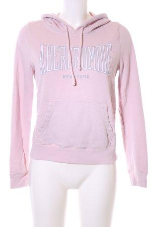 Abercrombie & Fitch Kapuzenpullover pink-weiß Schriftzug gedruckt