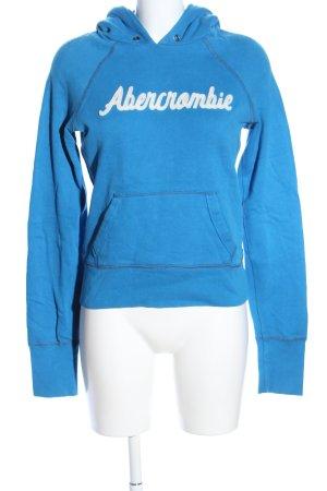 Abercrombie & Fitch Kapuzenpullover blau Schriftzug gedruckt Casual-Look