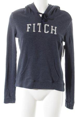 Abercrombie & Fitch Kapuzenpullover graublau Schriftzug gestickt Casual-Look
