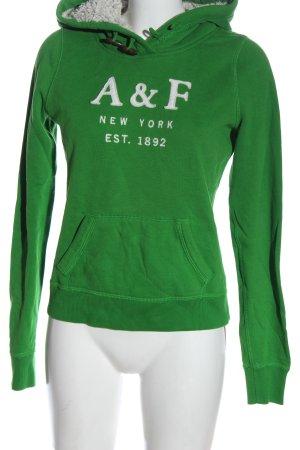 Abercrombie & Fitch Kapuzensweatshirt grün Schriftzug gestickt Casual-Look