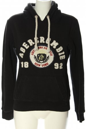 Abercrombie & Fitch Hooded Sweatshirt black-white printed lettering casual look