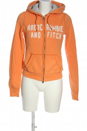 Abercrombie & Fitch Sudadera con capucha naranja claro-blanco letras impresas