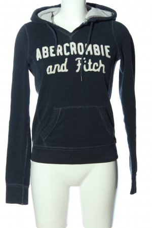 Abercrombie & Fitch Bluza z kapturem czarny-biały Wydrukowane logo