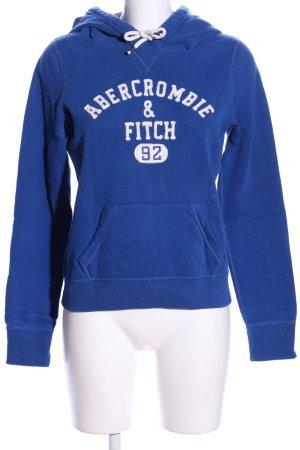 Abercrombie & Fitch Kapuzensweatshirt blau-weiß Schriftzug gedruckt Casual-Look