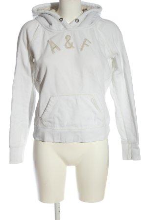 Abercrombie & Fitch Felpa con cappuccio bianco caratteri stampati stile casual