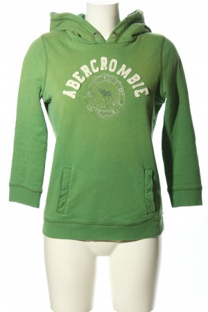 Abercrombie & Fitch Hooded Sweatshirt green embroidered lettering casual look