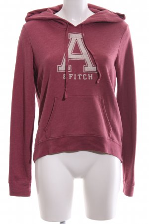 Abercrombie & Fitch Kapuzensweatshirt rot-wollweiß Schriftzug gedruckt
