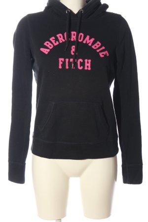 Abercrombie & Fitch Felpa con cappuccio nero caratteri stampati stile casual