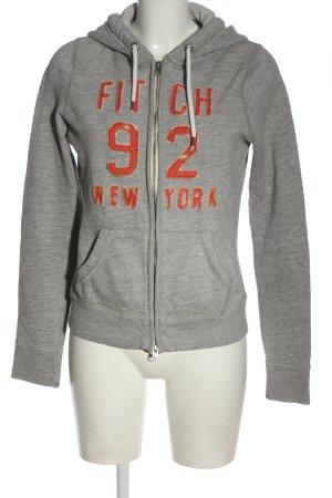 Abercrombie & Fitch Sweatshirt met capuchon lichtgrijs-licht Oranje gestippeld